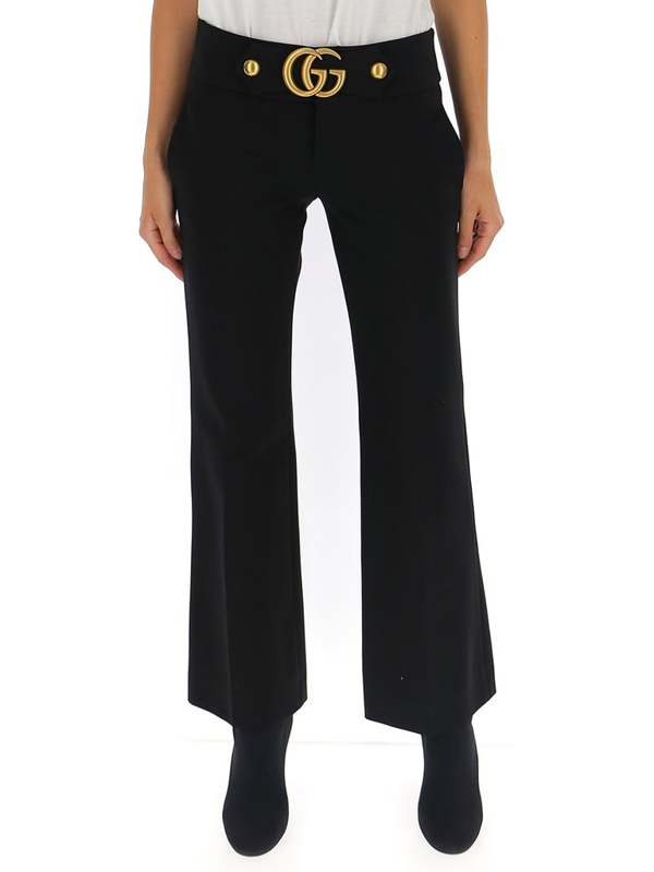 Gucci Women's Gg-detail Flare Pants In Black
