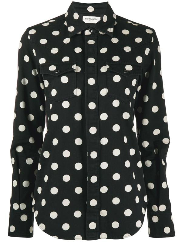 Saint Laurent Dotted Black Western Shirt