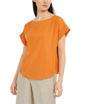 Eileen Fisher Relaxed Boat-neck Cap-sleeve Top In Goldenrod
