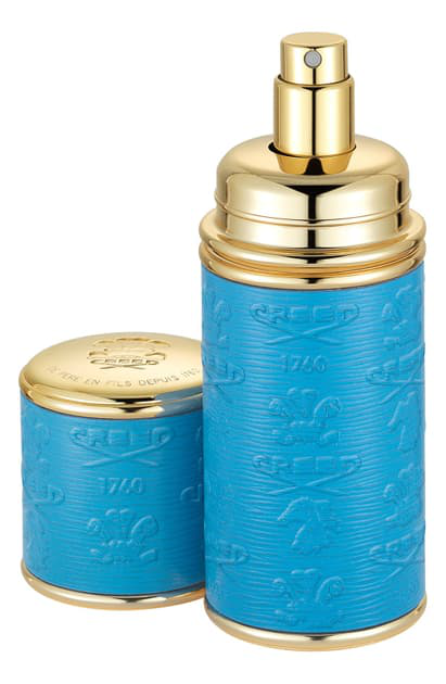 Creed Blue With Gold Trim Leather Atomizer, 1.7 oz