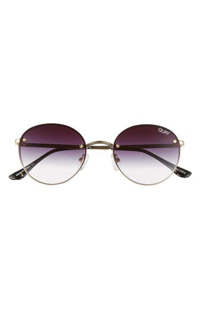 Quay X Elle Ferguson Farrah 53mm Round Sunglasses In Gold/ Fade