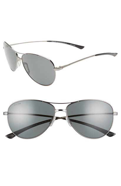 Smith Langley 60mm Chromapop(tm) Polarized Aviator Sunglasses In Dark Ruthenium/ Grey