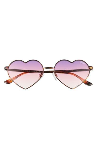 Quay Heartbreaker 55mm Tinted Heart Sunglasses In Tortoise/ Purple Fade