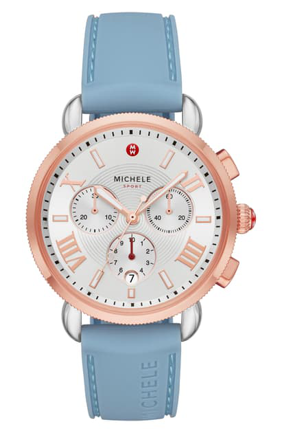 Michele Sport Sail Chronograph Watch Head With Silicone Strap, 38mm In Blue/silv Wht Sunray/rsgld