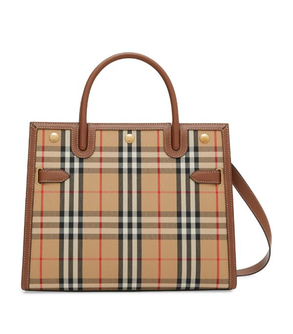 Burberry Small Title Double Handle Leather & Canvas Bag In Beige