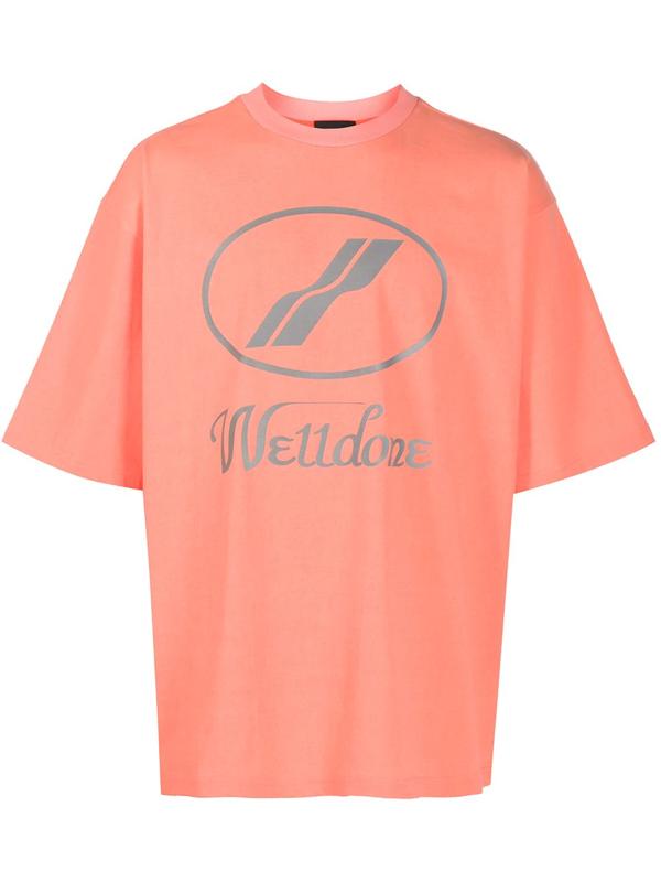We11 Done We11done Orange Reflective Logo T-shirt