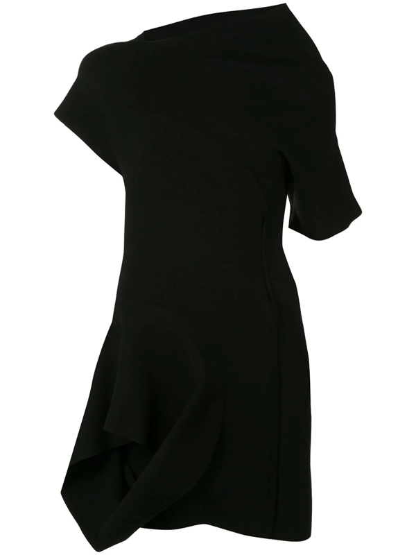 Rick Owens Asymmetric Draped Mini Dress In Black