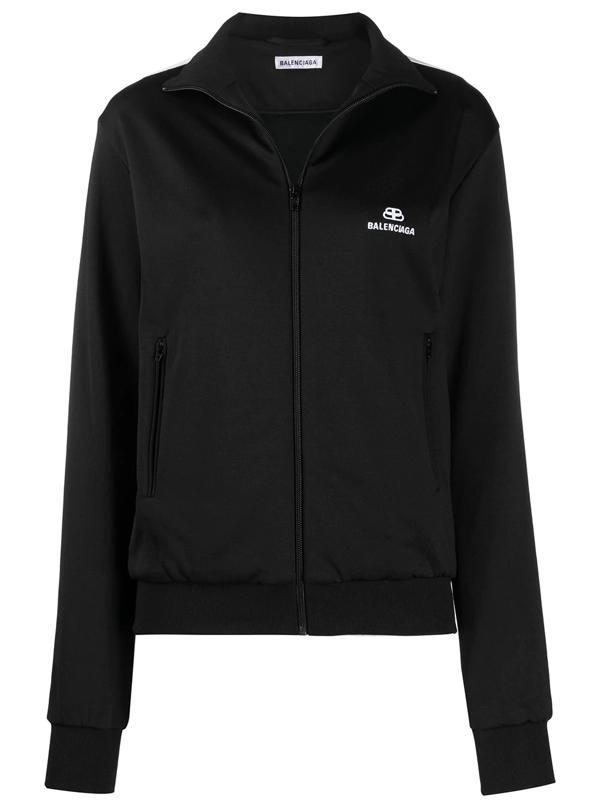 Balenciaga Logo Zip Cotton-blend Track Jacket In Black