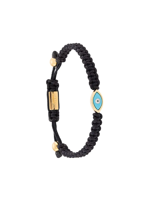 Nialaya Jewelry Evil Eye String Bracelet In Black