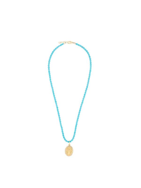 Nialaya Jewelry Turquoise Jesus Pendant Necklace In Blue