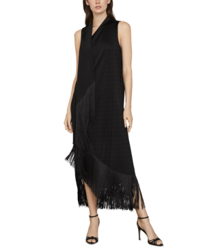 Bcbgmaxazria Fringe Trimmed Asymmetrical Maxi Dress In Black