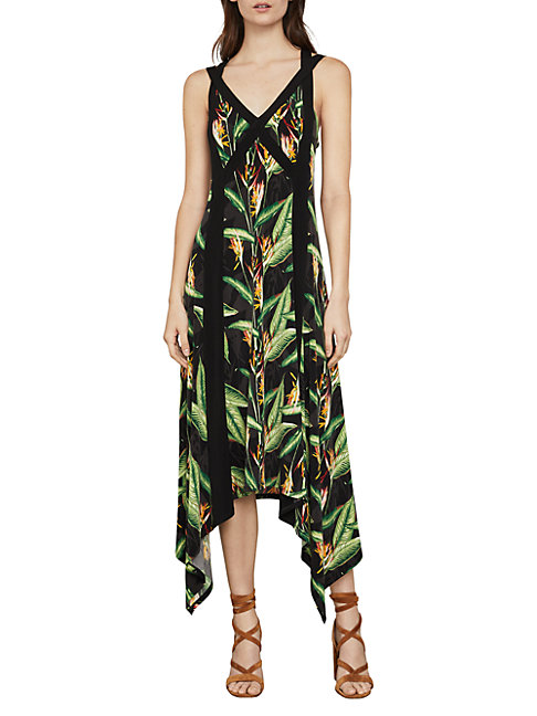 Bcbgmaxazria Bird Of Paradise Strappy Maxi Dress In Black Bird Print