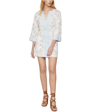 Bcbgmaxazria Contrast Trim Floral Print Tunic Dress In Gardenia-first Blo