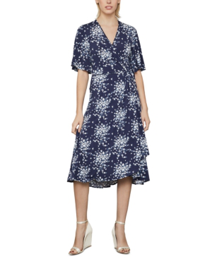 Bcbgmaxazria Floral-print Wrap Dress In Pacific Blue-flora