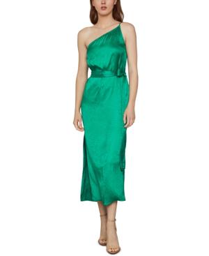 Bcbgmaxazria One-shoulder Satin Dress In Sapphire Green