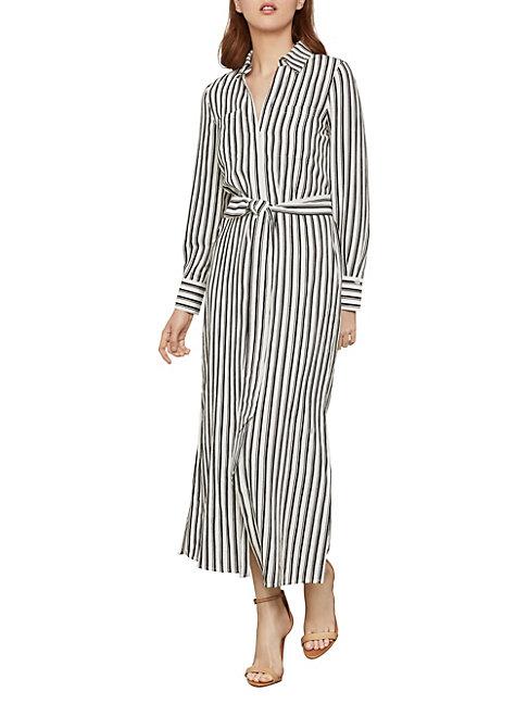 Bcbgmaxazria Striped Shirt Dress In Black Combo