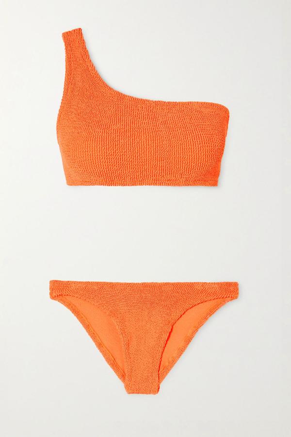 Hunza G Nancy One-shoulder Seersucker Bikini In Bright Orange