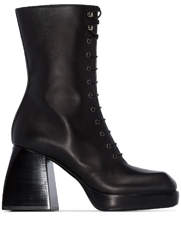 Nodaleto Black Bulla 85 Lace-up Leather Boots In Black Soul