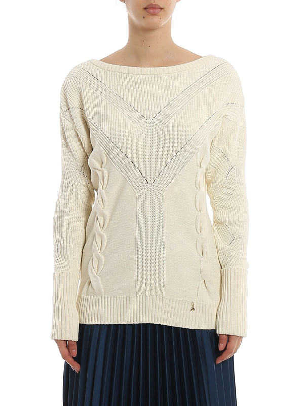 Patrizia Pepe Cable Motif Sweater In Cream Color