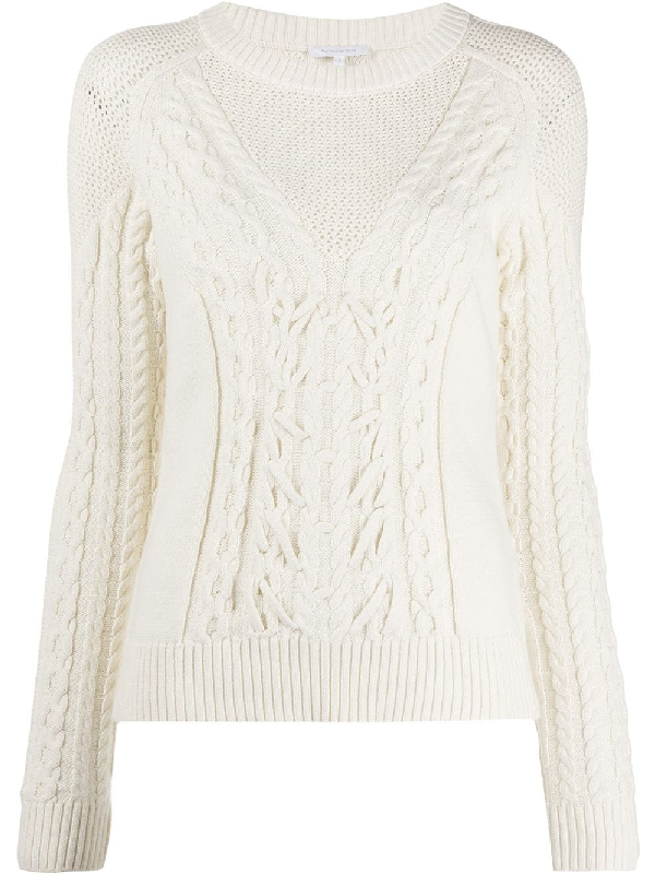 Patrizia Pepe Crewneck Cable Motif Sweater In White In Neutrals