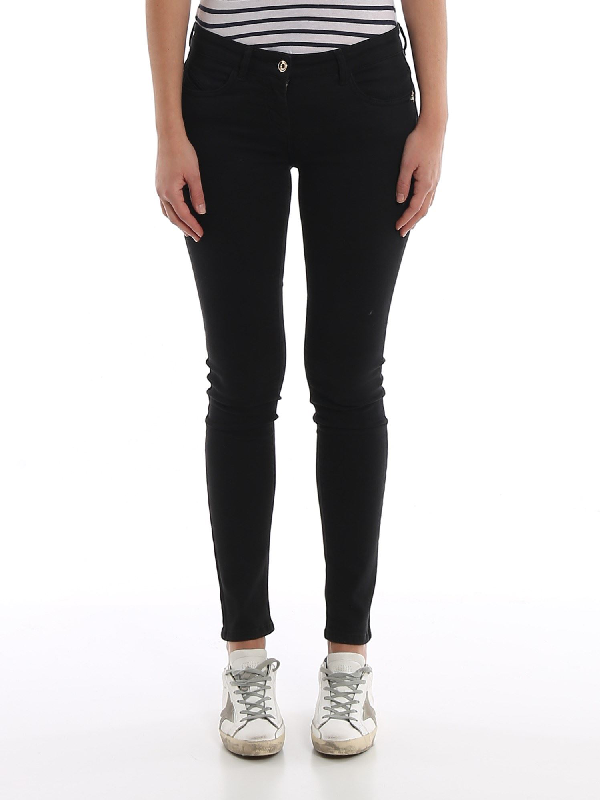 Patrizia Pepe Jeggings With Embroidered Pocket In Black