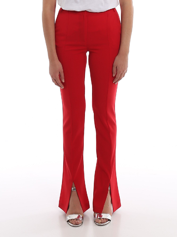 Patrizia Pepe Bottom Slit Pants In Red