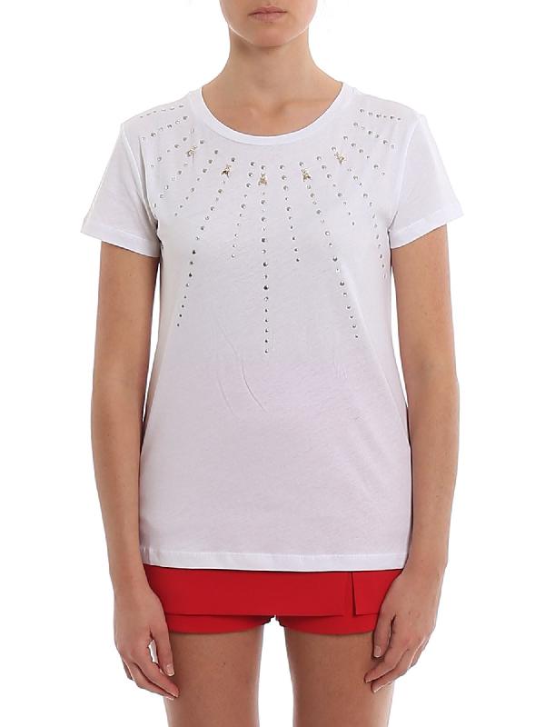 Patrizia Pepe Rhinestones And Studs T-shirt In White