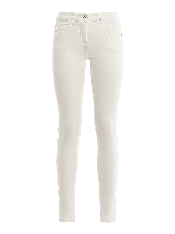 Patrizia Pepe Jeggings With Embroidered Pocket In White