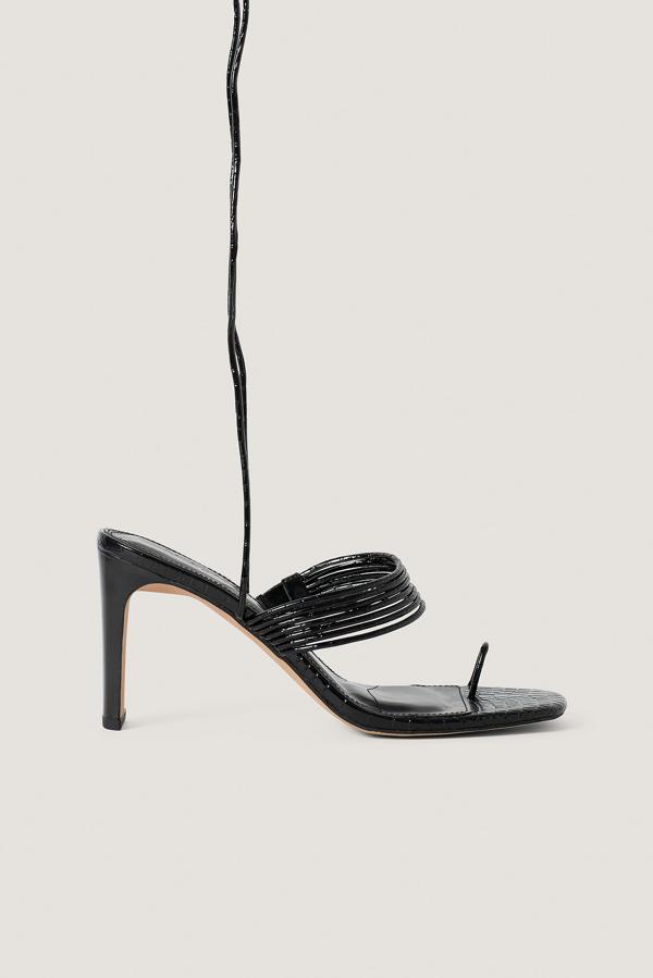 Na-kd Strappy Ankle Heels Black