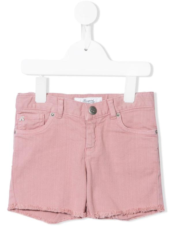 Bonpoint Kids' Fringe Denim Shorts In Pink