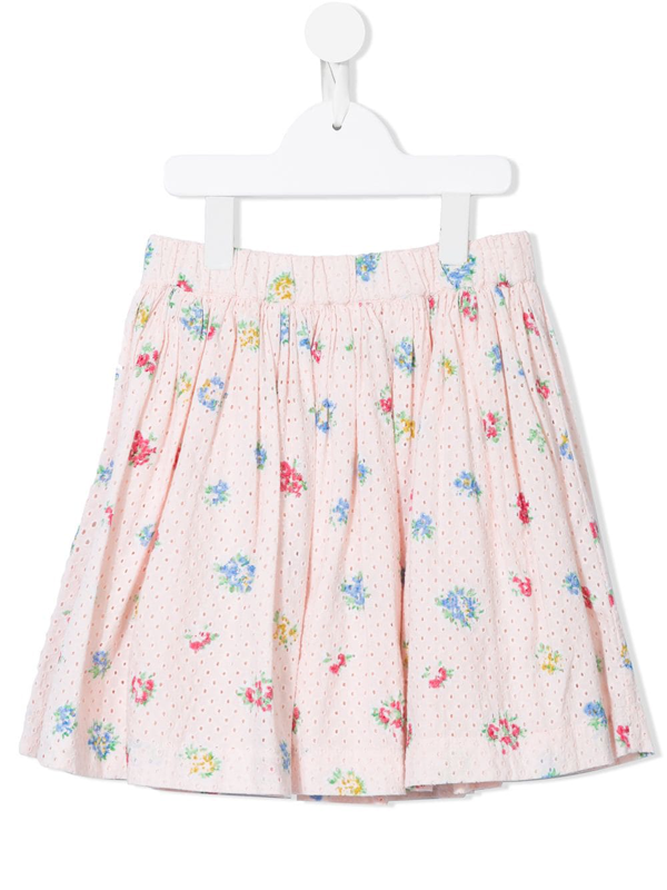 Bonpoint Kids' Floral Gathered Skirt In Pink