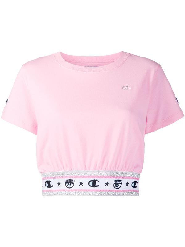 Chiara Ferragni X Champion Cropped T-shirt In Pink