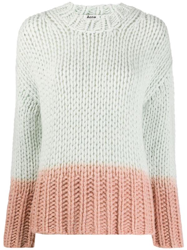 Acne Studios Dip Dye Effect Chunky Knit Sweater In Green