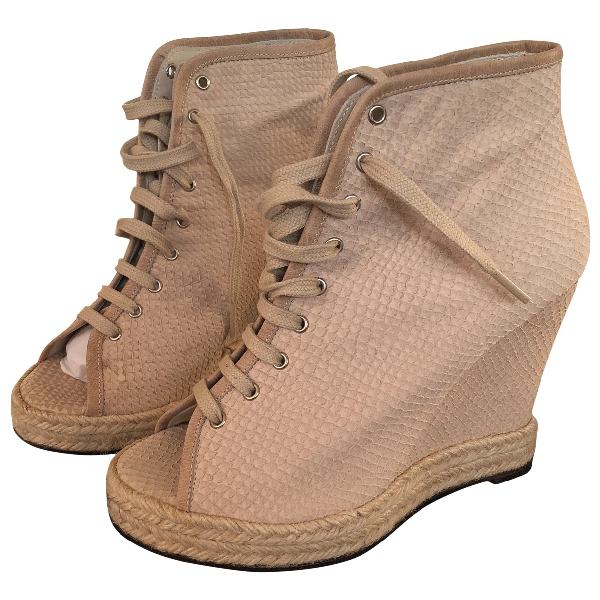 American Retro Beige Leather Ankle Boots