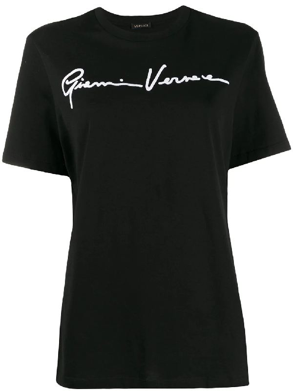 Versace Signature Logo Cotton Jersey T-shirt In Black