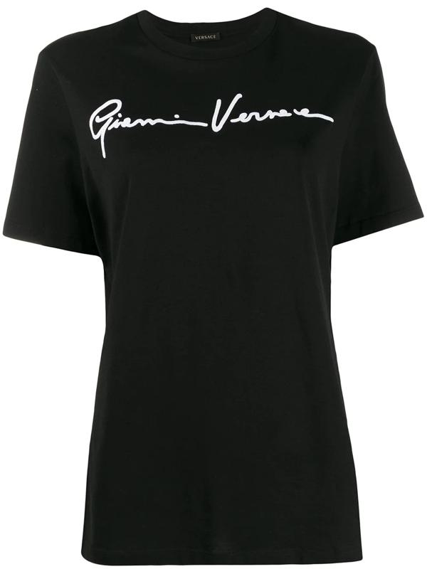 Versace Signature Logo Cotton Jersey T-shirt In Black