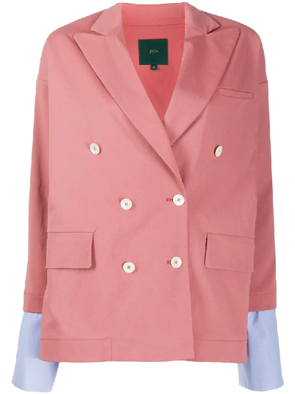 Jejia Double-breasted Blazer In Pink