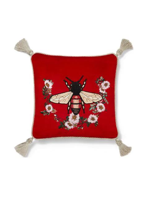 Gucci Bee Embroidery Cushion In Red