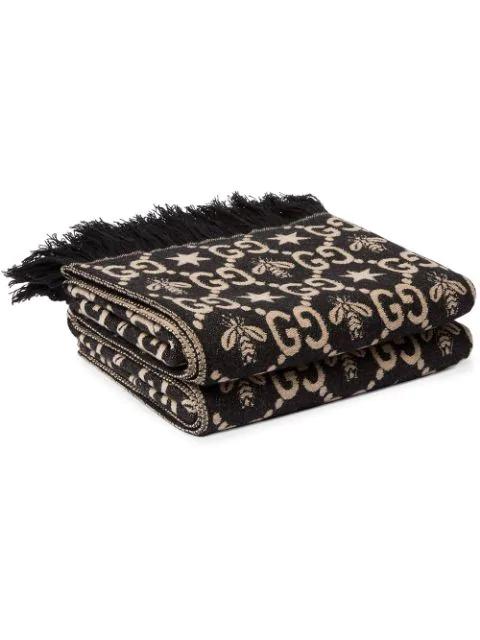 Gucci Gg Pattern Throw Blanket In Black