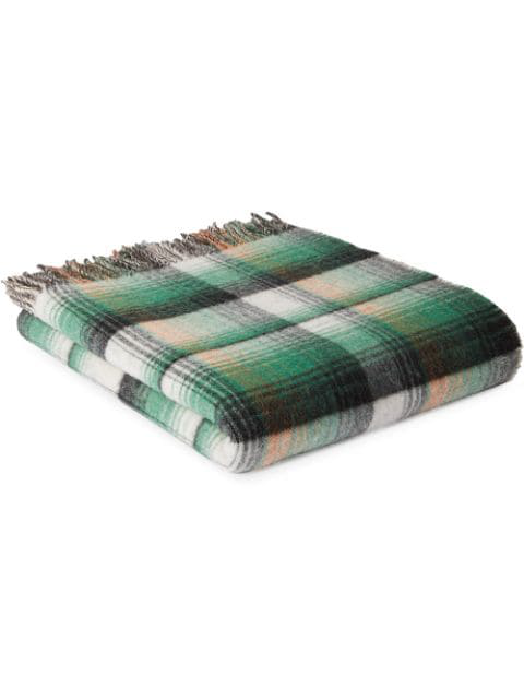 Gucci Gg And Check Throw Blanket In Green