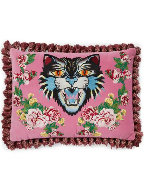 Gucci Angry Cat Embroidered Pillow In Pink