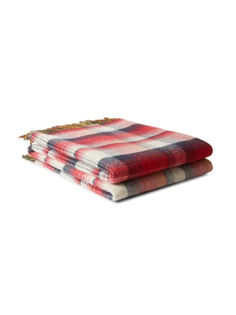 Gucci Gg And Check Throw Blanket In Red