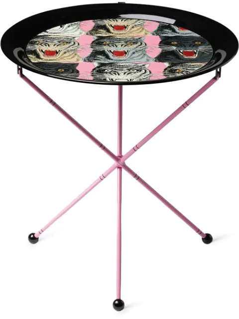 Gucci Tiger Face Folding Side Table In Pink ,black