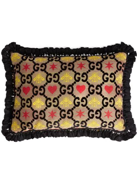 Gucci Gg Jacquard Rectangle Cushion In Black