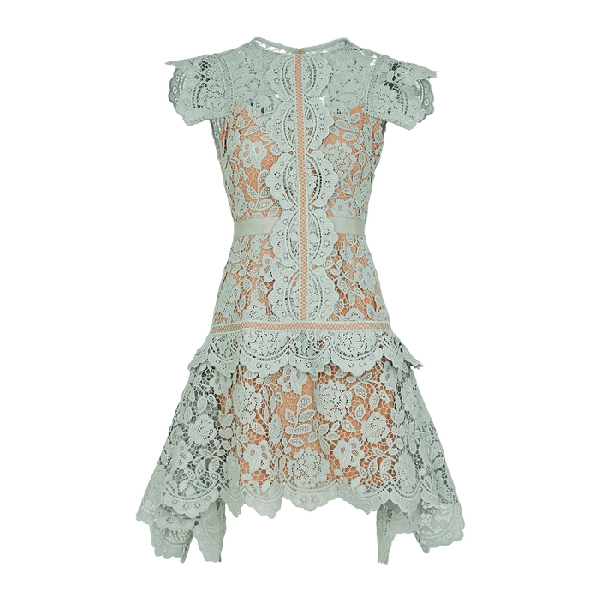 Self-portrait Floral Embroidered Guipure Lace Midi Dress In Mint
