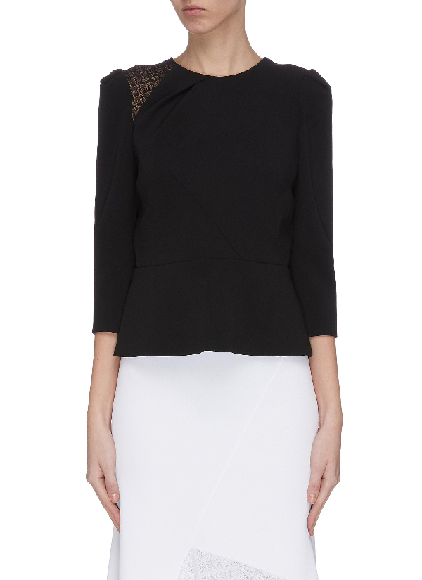 Roland Mouret 'ashridge' Geometric Lace Panel Puff Shoulder Gathered Top In Black