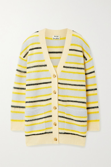 Acne Studios Fluffy Stripe Alpaca Blend Long Cardigan In Yellow