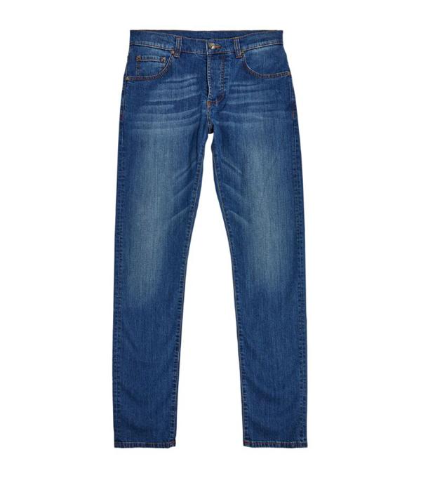 Isaia Medium Wash Slim Fit Jeans In Blue