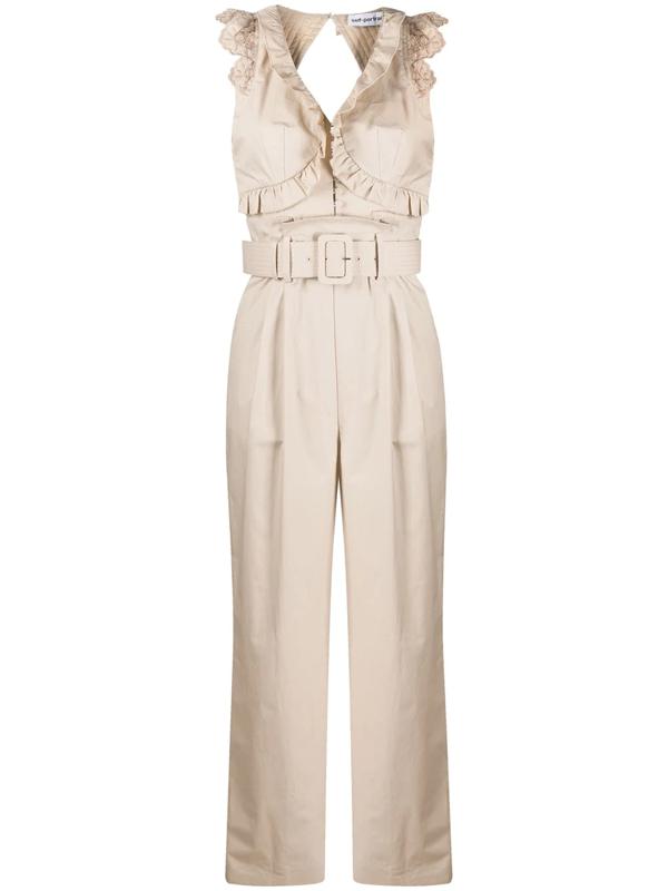 Self-portrait Broderie Sleeveless Cotton Jumpsuit In Neutrals