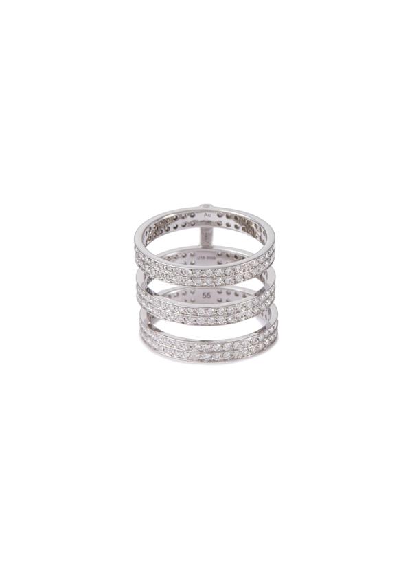 Repossi 'berbère' Diamond 18k White Gold Triple Row Ring In Diamond White Gold